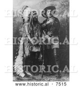 Historical Photo of Sitting Bull Standing with Buffalo Bill 1885 - Black and White by Al