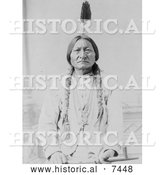 Historical Photo of Sitting Bull with Peace Pipe 1885 - Black and White by Al