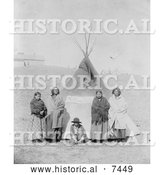 Historical Photo of Sitting Bulls Family in Front of Tipi 1891 - Black and White by Al