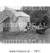Historical Photo of Skokomish Women by Shelter 1913 - Black and White by Al