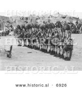 Historical Photo of Snake Priests During Ceremonial Dance - Native American Indians - Black and White Version by Al