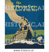 Historical Photo of Soldier in a Boat - Vintage Military War Poster by Al