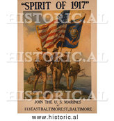 Historical Photo of Soldiers with Flags, Spirit of 1917 - Vintage Military War Poster by Al