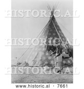 Historical Photo of Spotted Blackfoot Indian Tipi 1927 - Black and White by Al