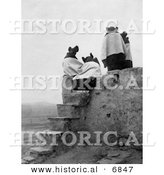 Historical Photo of the Backs of Four Hopi Native American Women Seated on a Roof at the Top of Stairs on a Walpi Pueblo, 1904 - Black and White Version by Al