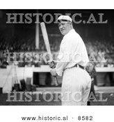 Historical Photo of the Giants Baseball Player, Jim Thorpe, at Polo Grounds, Holding a Baseball Bat - Black and White Version by Al