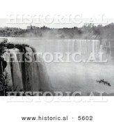Historical Photo of the Maid of the Mist Under Horseshoe Falls from Goat Island - Black and White Version by Al