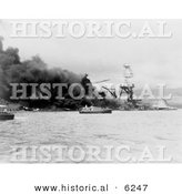 Historical Photo of the USS Arizona Battleship in Flames - Black and White Version by Al