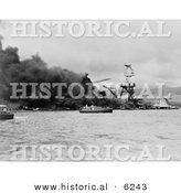 Historical Photo of the USS Arizona Battleship Wreckage - Black and White Version by Al
