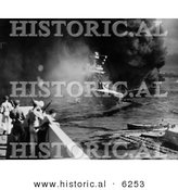 Historical Photo of the USS California & Oklahoma Battleships - Black and White Version by Al