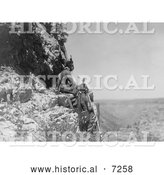 Historical Photo of Three Crow Indians on Rock Ledge 1905 - Black and White by Al