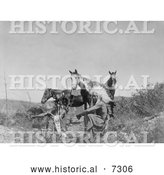 December 13th, 2013: Historical Photo of Three Crow Native Americans and Horses 1905 - Black and White by Al