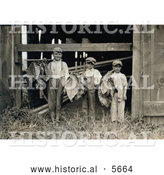 Historical Photo of Three Leaf Boys Carrying Tobacco Leaves While Working on a Farm in 1917 by Al