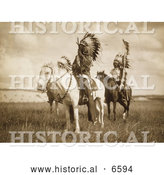 Historical Photo of Three Sioux Chiefs on Horses 1905 - Sepia by Al