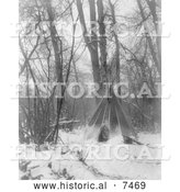 Historical Photo of Tipi in Winter 1908 - Black and White by Al