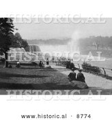 Historical Photo of Tourists Watching Waterfalls at Prospect Point, Niagara - Black and White Version by Al