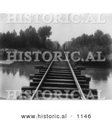 Historical Photo of Train Tracks at Southern Pacific Railroad Bridge over Calloway Canal in Kern County, California - Black and White Version by Al