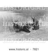 Historical Photo of Tule Gatherer 1910 - Black and White by Al