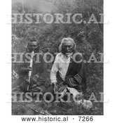 Historical Photo of Two Crow Indians Smoking 1905 - Black and White by Al