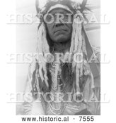 Historical Photo of Two Moons, Cheyenne Native Man 1910 - Black and White by Al