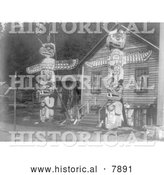 Historical Photo of Two Totem Poles 1914 - Black and White by Al