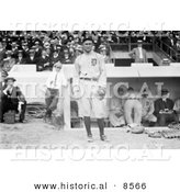 Historical Photo of Ty Cobb Wearing His Detroit Tigers Baseball Uniform While Standing in Front of a Dugout at a Game - Black and White Version by Al