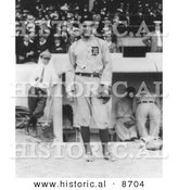 Historical Photo of Tyrus Raymond Cobb, Detroit Tigers Baseball Player, 1914 - Black and White Version by Al