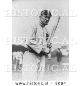 Historical Photo of Tyrus Raymond Cobb Holding a Baseball Bat, 1914 - Black and White Version by Al
