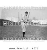 Historical Photo of Tyrus Raymond Cobb of the Detroit Tigers, Standing and Posing with a Bat in a Field - Black and White Version by Al