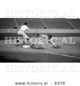 Historical Photo of Tyrus Raymond Cobb Sliding Safe to Third Base After Making a Triple - Black and White Version by Al