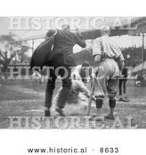 Historical Photo of Umpire Waiting As a Baseball Player Steals Home Base - Black and White Version by Al