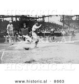 Historical Photo of Umpire Waiting As a Runner Slides onto Home Base - Black and White Version by Al