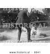 Historical Photo of Umpire Watching As a Baseball Player Slides for Home Plate - Black and White Version by Al