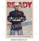 Historical Photo of US Marine Man - Vintage Military War Poster by Al