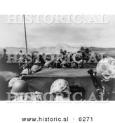 Historical Photo of U.S. Marines at Iwo Jima, 1945 - Black and White Version by Al