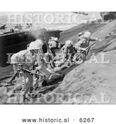 Historical Photo of U.S. Marines Running Uphill on Iwo Jima - Black and White Version by Al