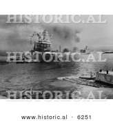 Historical Photo of USS Neosho Oiler During the Attack on Pearl Harbor - Black and White Version by Al