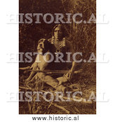 Historical Photo of Ute Boy with Dog 1874 - Sepia by Al