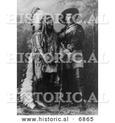 Historical Photo of William F Cody (Buffalo Bill) Standing with Sitting Bull 1897 - Black and White Version by Al