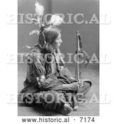 December 13th, 2013: Historical Photo of William Frog, Sioux, Sitting Cross Legged 1900 - Black and White by Al