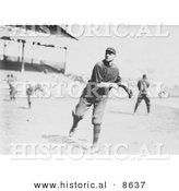 Historical Photo of William Lawrence James Throwing a Baseball 1914 - Black and White Version by Al