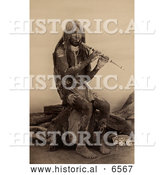 Historical Photo of Yuma Indian Playing a Flute - Sepia by Al