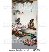 Historical Photo OfHopi Women Preparing Animal Hides at the Matate, Moki Pueblos, Arizona by Al