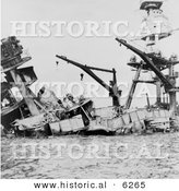 Historical Photo Showing Wreckage of the USS Arizona Battleship During the Attack on Pearl Harbor - Black and White Version by Al