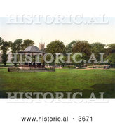 Historical Photochrom of a Band Performing Live Music in the Grove Park Gazebo in Weston-super-Mare on the Bristol Channel in North Somerset England UK by Al