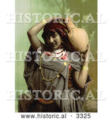 Historical Photochrom of a Bedouin Woman Carrying a Pottery Vessel by Al