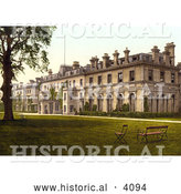 Historical Photochrom of a Bench and Chair on the Lawn at the Spa Hotel in Royal Tunbridge Wells Kent England UK by Al