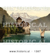 Historical Photochrom of a Boat and Dents Du Midi by Chillon Castle by Al