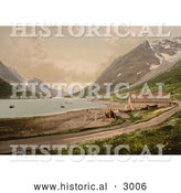 Historical Photochrom of a Boat and House on Shore, Ulsfjorden, Kjosen, Norway by Al