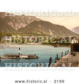 Historical Photochrom of a Boat near Bonigen, Switzerland by Al